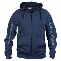 Sweatshirt Homme Full Zip Bleu Navy